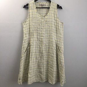 Flax linen plaid dress with pockets oversized S.